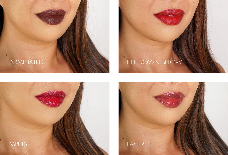 NARS Lipstick Swatches Dominatrix, Fire Down, Impulse, Fast Ride