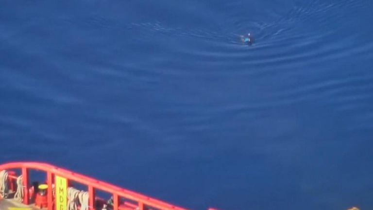 L'homme a été récupéré par un remorqueur privé. Pic: Sea-Watch