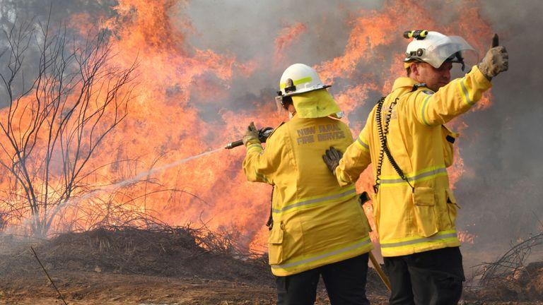 Des pompiers des sapeurs-pompiers ruraux de Nouvelle-Galles du Sud luttent contre des incendies sur la route Long Gully dans la ville de Drake, au nord de la Nouvelle-Galles du Sud, en Australie, le 9 septembre 2019