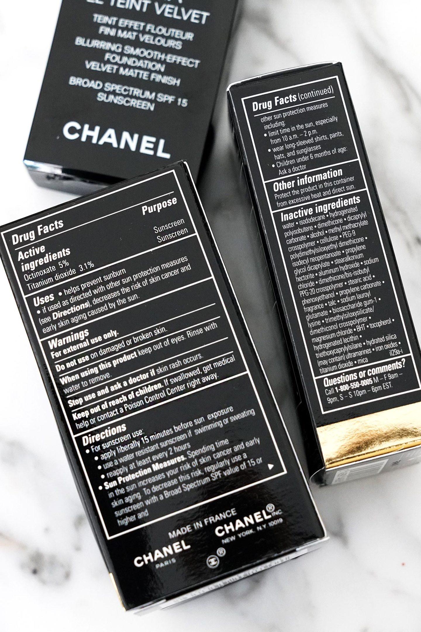 Ingrédients Chanel Ultra Le Teint Velvet US