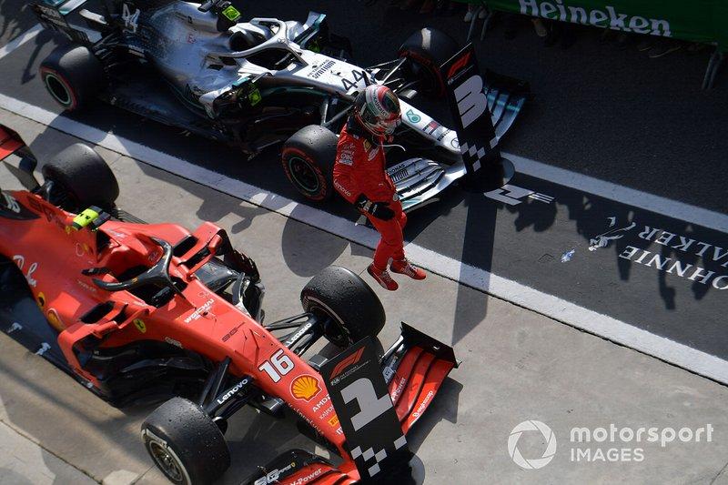 Charles Leclerc, Ferrari, 1ère position, fête au Parc Fermé