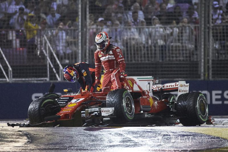 Kimi Raikkonen, Ferrari, Max Verstappen, Red Bull, après laccident