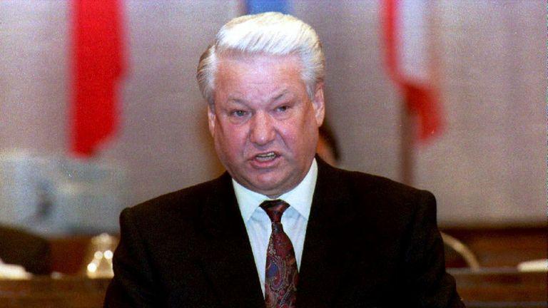 Le président russe Boris Eltsine en 1992