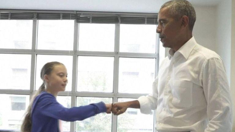 """Greta Thunberg et Barack Obama forment """"une équipe""""."""
