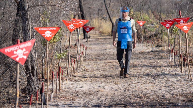 Le duc de Sussex traverse un champ de mines à Dirico, en Angola, lors d'une visite pour observer le travail de la charité Halo Trust, chargée de la dépollution des mines,