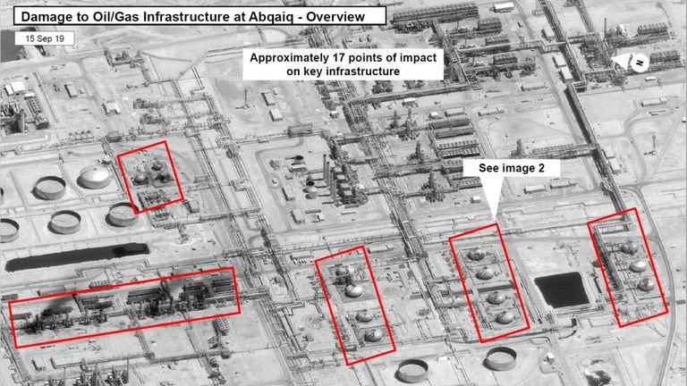 Image satellite montrant les dommages causés à l'infrastructure saoudienne de pétrole et de gaz Aramco à Abqaiq, en Arabie saoudite