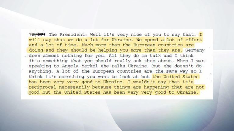 Le président Trump a déclaré à son homologue que nous faisions beaucoup pour l'Ukraine.