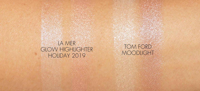 Surligneur La Mer Glow vs échantillons de Tom Ford Moodlight