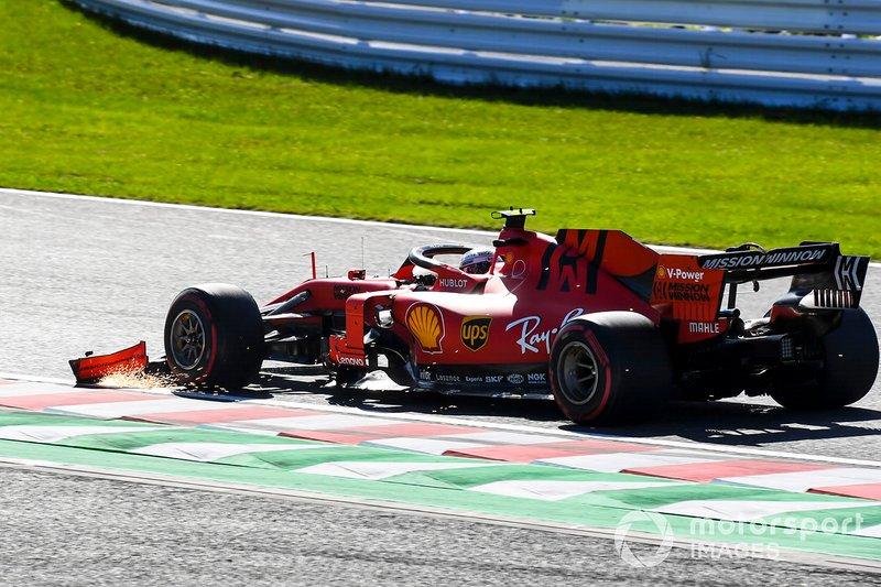 Charles Leclerc et la Ferrari SF90 endommagés par laile avant