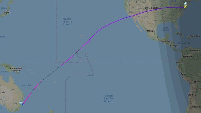 La trajectoire de vol du vol direct le plus long du monde. Pic: radar de vol