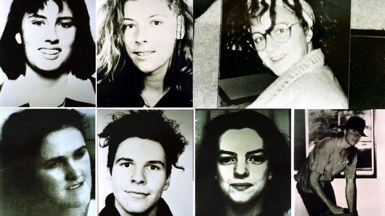 De haut en bas (De gauche à droite), Deborah Everest, Australie; Anja Habschied, Allemagne; Simone Schmidl, Allemagne; Bottom (de gauche à droite) Joanne Walters, UK; Gabor Neugebauer, Allemagne; Caroline Clarke, UK; et James Gibson Australia. Victimes d'Ivan Milat