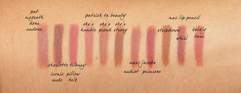 Crayons à lèvres neutres Patrick Ta, Charlotte Tilbury, MAC