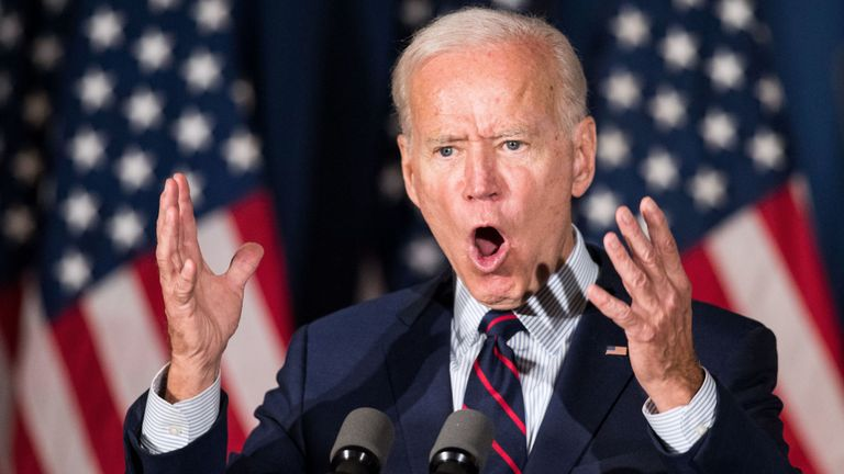 Candidat à l'élection présidentielle démocratique, l'ancien vice-président Joe Biden s'exprime lors d'un événement organisé le 9 octobre 2019 à Rochester, dans le New Hampshire.