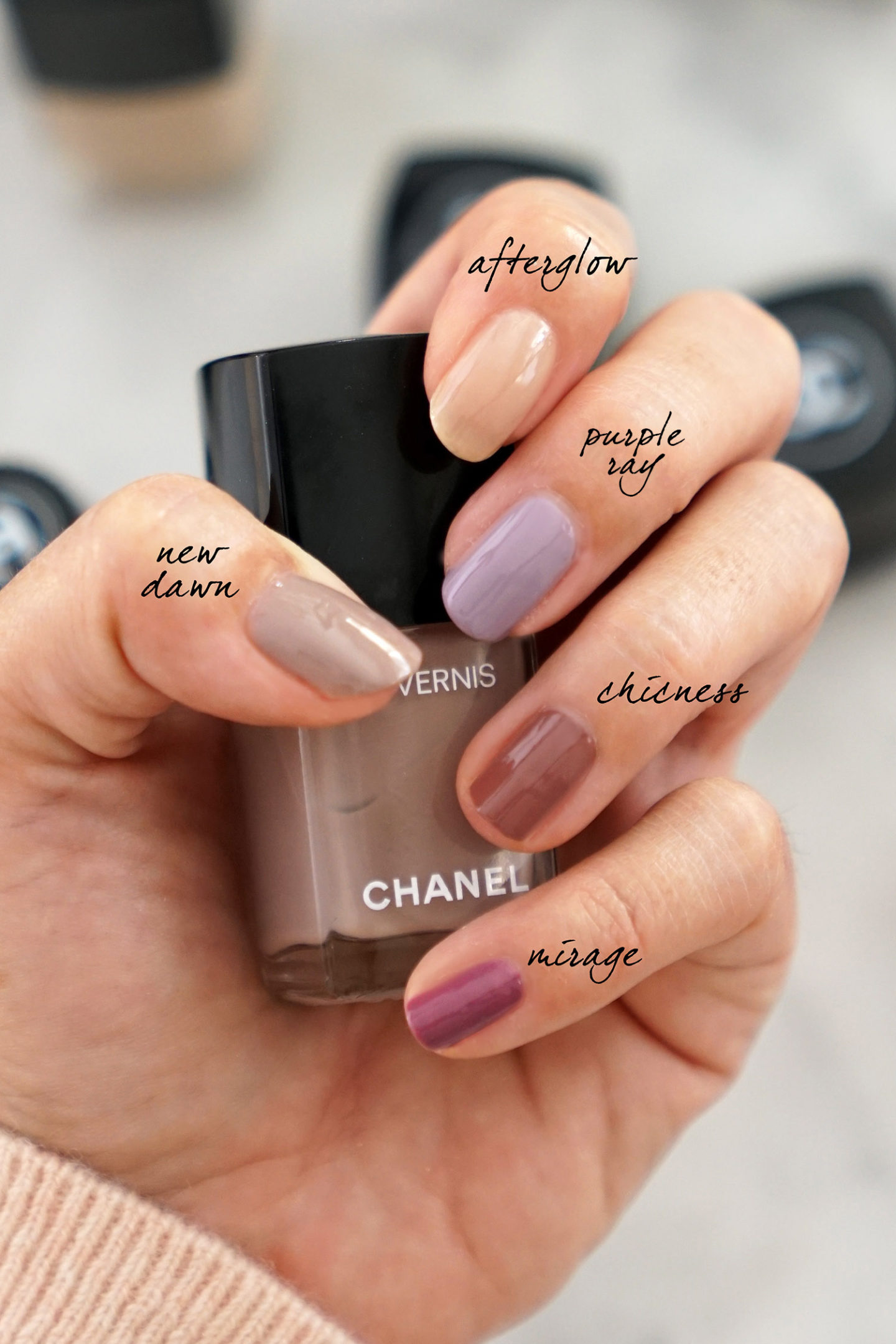 Chanel Le Vernis New Dawn, Afterglow, Purple Ray, Chicness et Mirage