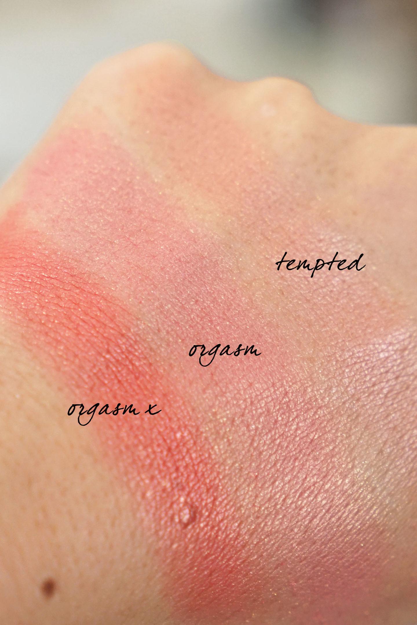 Échantillons NARS Orgasm X, Orgasm and Tempted Blush