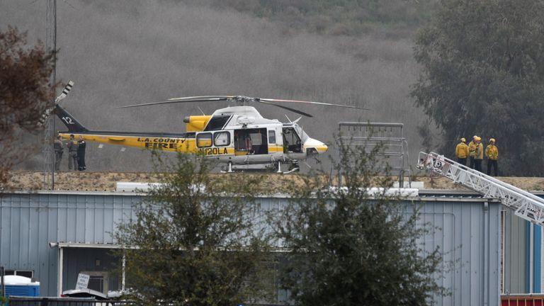 Les pompiers du comté de LA sur les lieux de l'accident