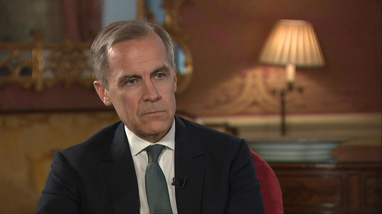Mark Carney s'est entretenu exclusivement avec Sky News & # 39; Le rédacteur en chef d'Economie Ed Conway pour sa dernière interview en tant que gouverneur de la Banque d'Angleterre