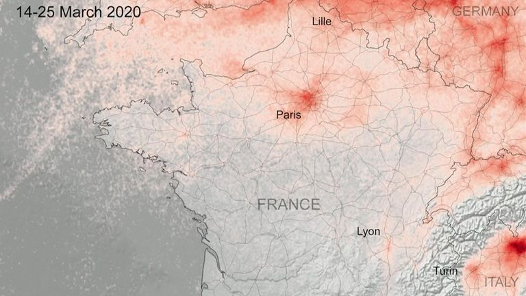 De nouvelles images satellites montrent que la pollution de l'air a diminué dans les zones urbaines à travers l'Europe pendant les fermetures pour lutter contre le coronavirus. La France moins polluée