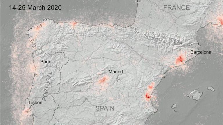 De nouvelles images satellites montrent que la pollution de l'air a diminué dans les zones urbaines à travers l'Europe pendant les fermetures pour lutter contre le coronavirus. L'Espagne moins polluée