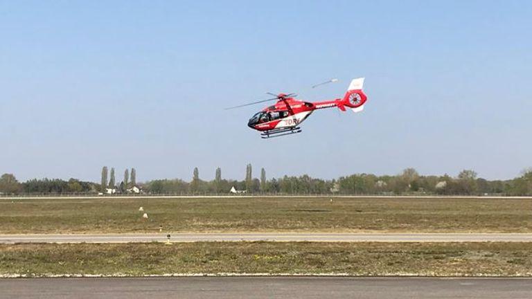 L'ambulance aérienne allemande transporte des patients