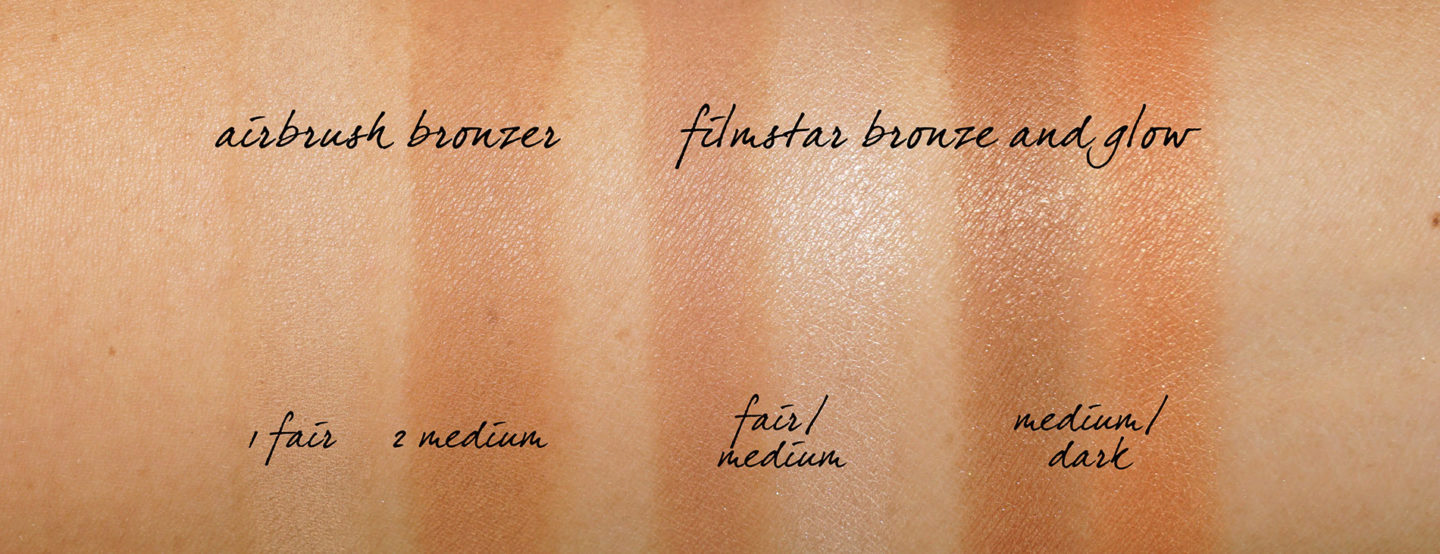 Charlotte Tilbury Airbrush Bronzer Fair Medium vs Nuances Bronze et Glow Filmstar