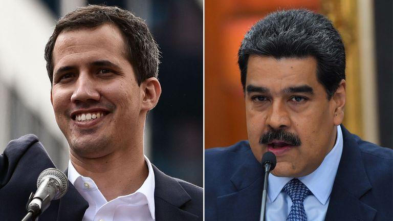 Juan Guaido (L) et le président Nicolas Maduro