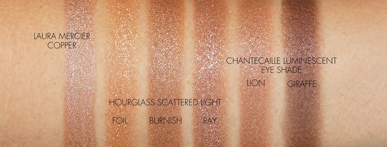 Meilleurs fards à paupières bronze cuivré Laura Mercier, Hourglass et Chantecaille