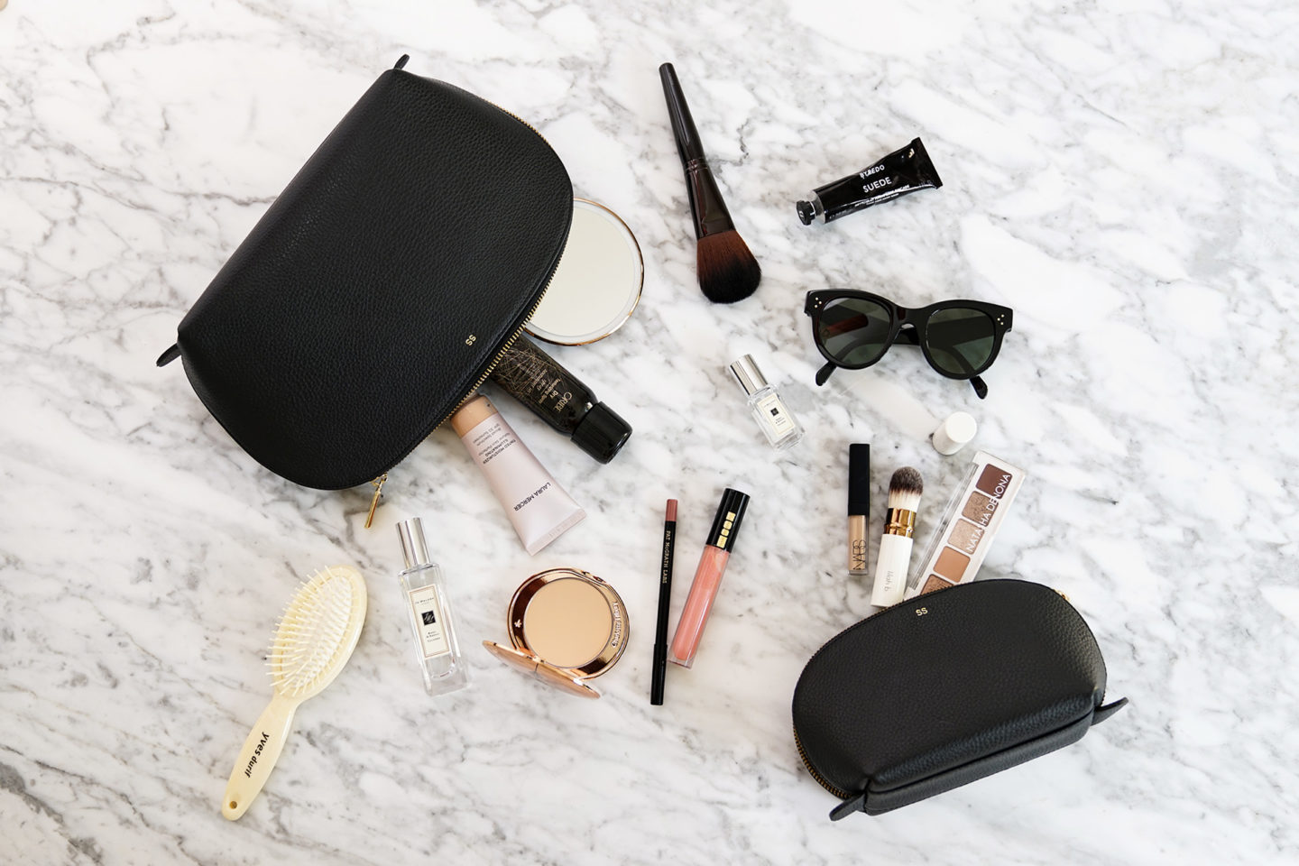 Trousse de maquillage noire Cuyana Travel Set