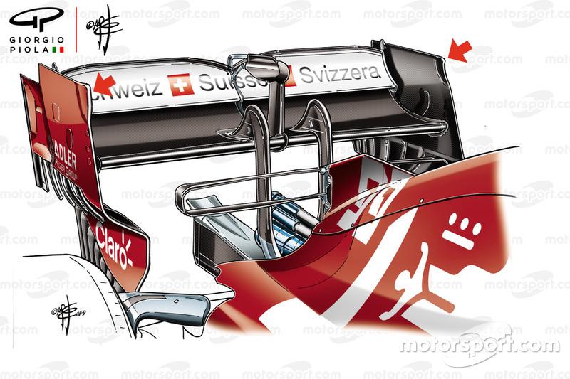 Détail de l'aileron arrière de l'Alfa Romeo Racing C38