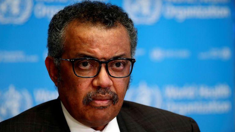 Le directeur général de l'Organisation mondiale de la santé (OMS) Tedros Adhanom Ghebreyesus assiste à une conférence de presse sur la situation du coronavirus à Genève.
