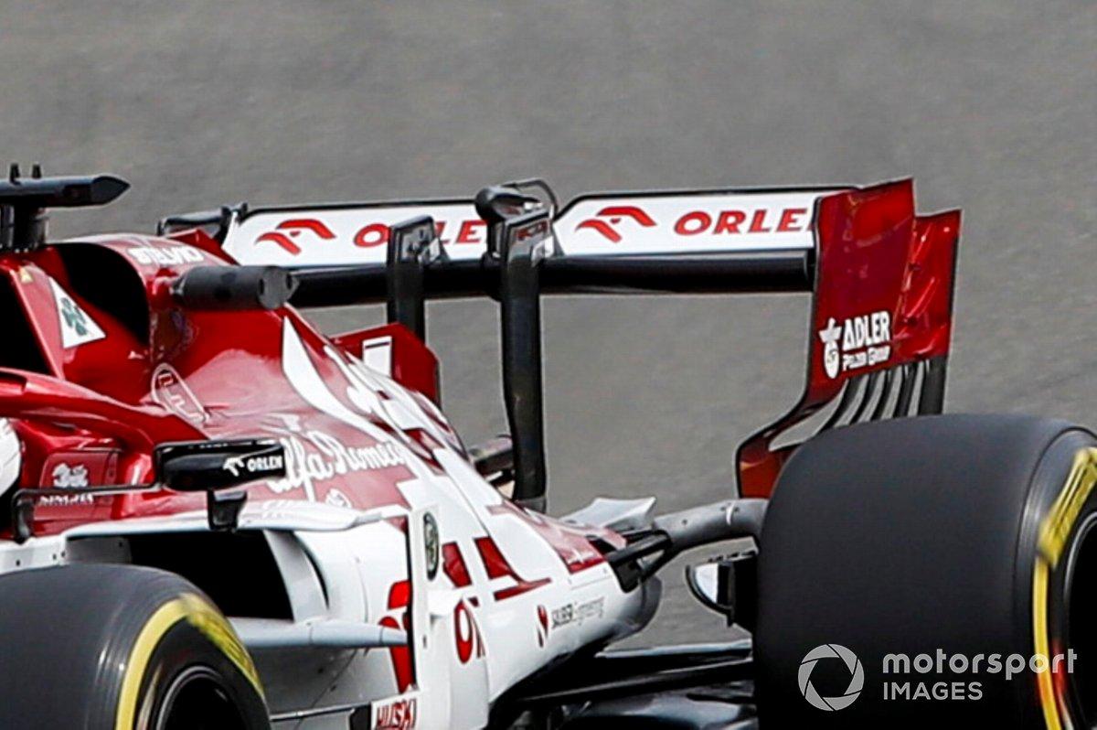 Kimi Raikkonen, détail de l'aileron arrière de l'Alfa Romeo Racing C39