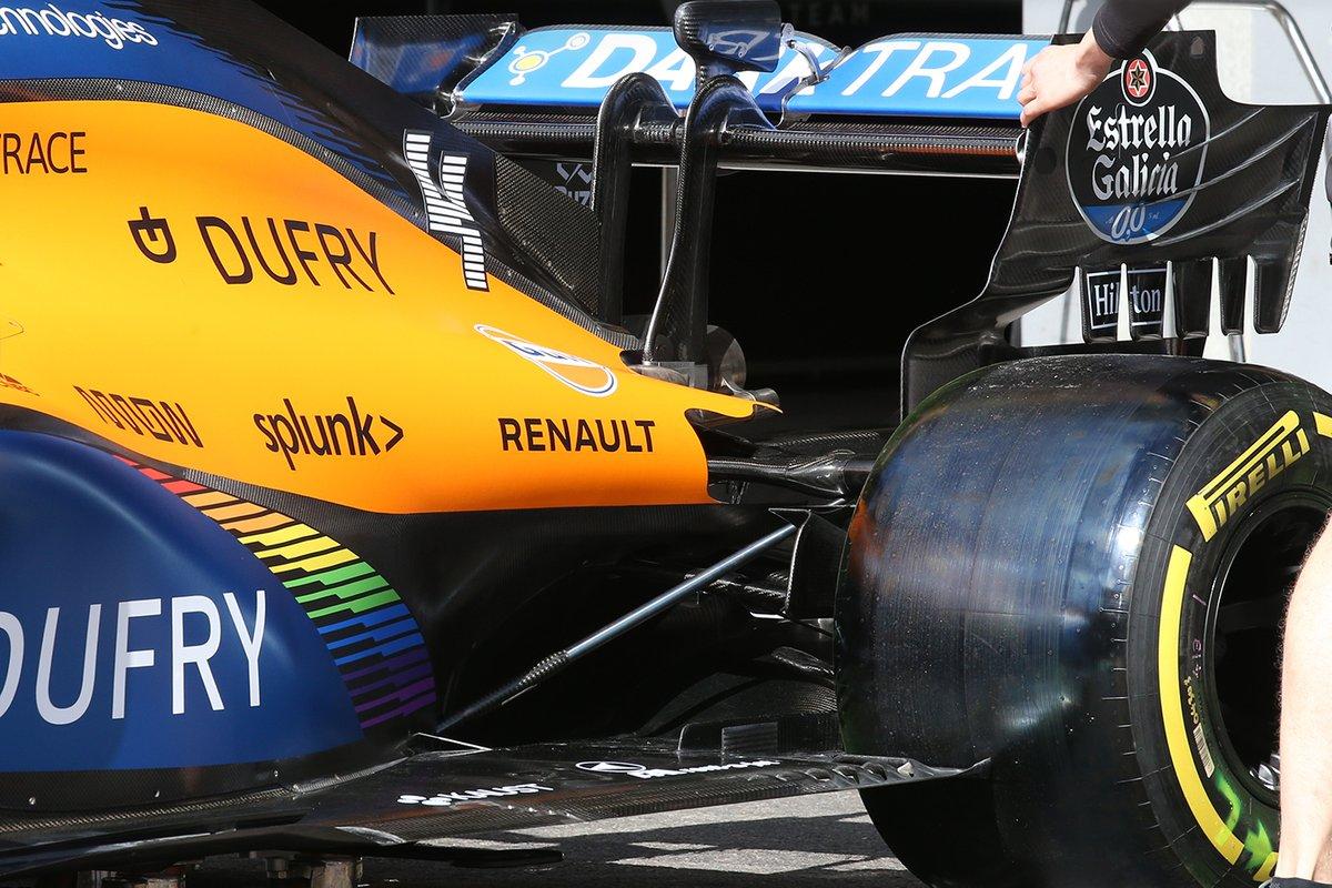 Détail de l'aile arrière de la McLaren MCL34