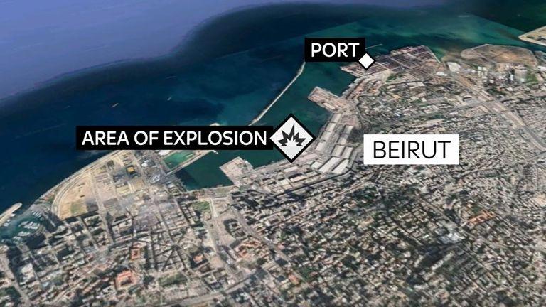 La carte montre où l'explosion du Liban a eu lieu