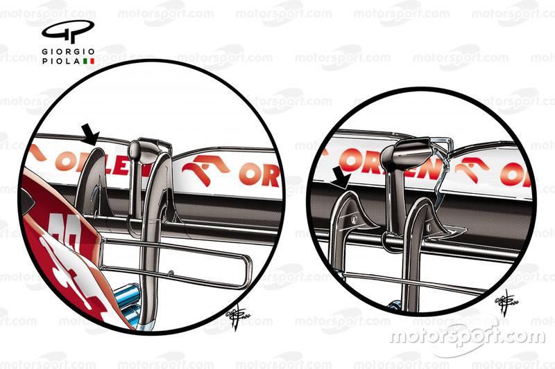 Comparaison des détails du montant de l'aileron arrière de l'Alfa Romeo Racing C39