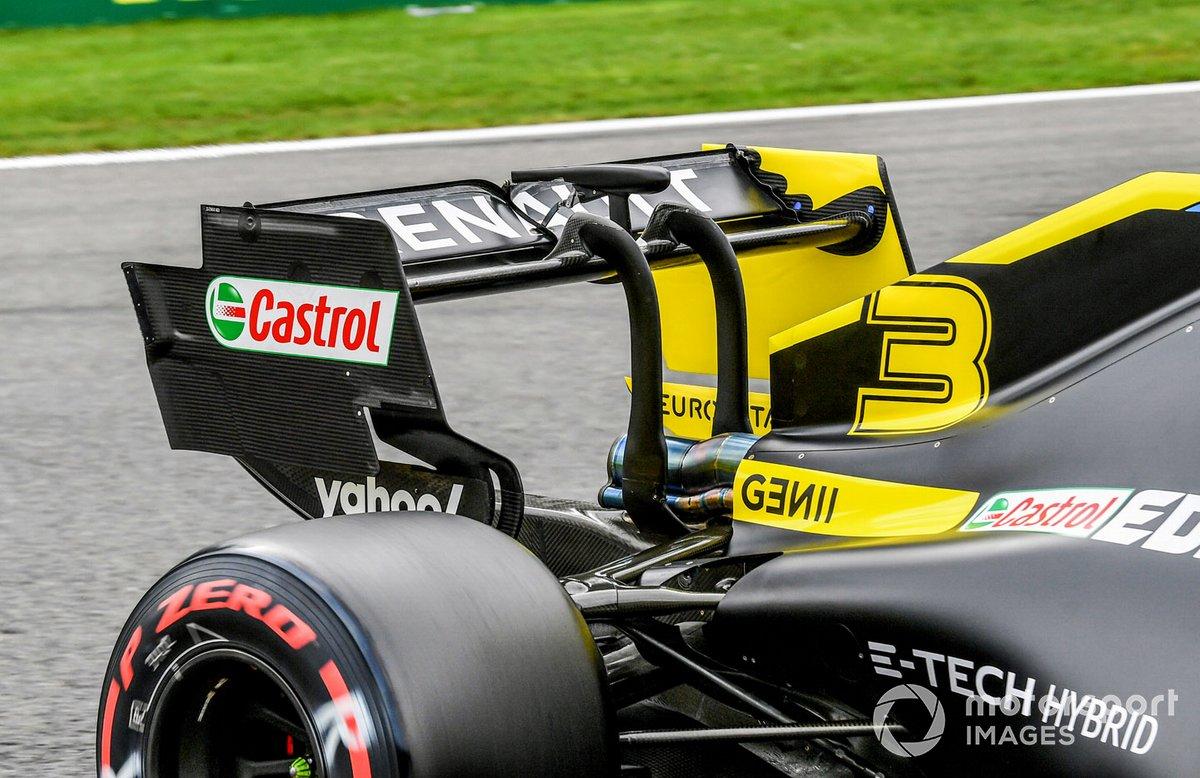 Aile arrière et actionneur DRS sur la voiture de Daniel Ricciardo, Renault F1 Team RS20