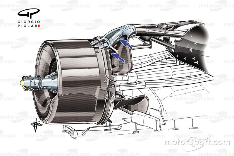 Détail du conduit de freins arrière de la Mercedes AMG F1 W11