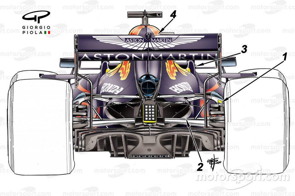 Détails de la suspension arrière de la Red Bull Racing RB16