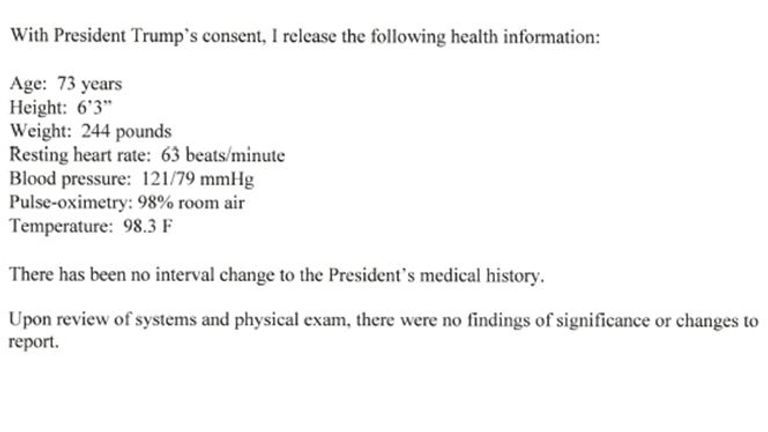 Les résultats de l'examen physique de Donald Trump par son médecin, Sean Conley, qui ont été envoyés à l'attachée de presse de la Maison Blanche Kayleigh McEnany, le 3 juin 2020