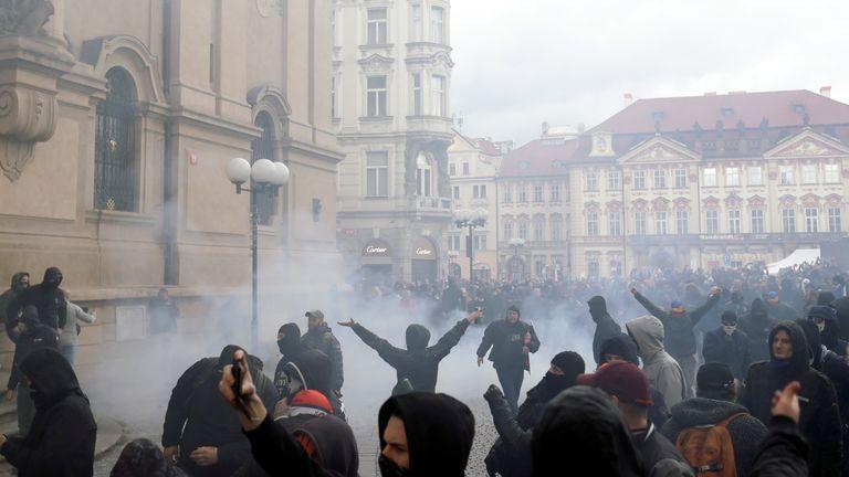 Des manifestations ont eu lieu à Prague ce week-end au sujet des restrictions en République tchèque