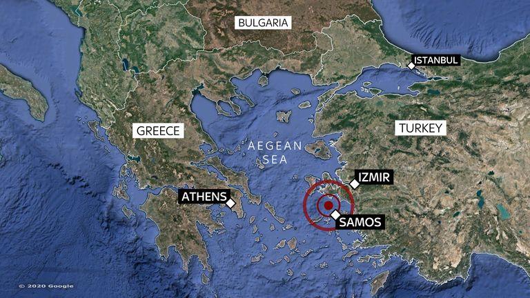 Carte de l'endroit où le séisme de magnitude 7 a frappé la Turquie et les îles grecques le 30/10/2020
