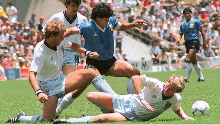 Maradona jouant à la Coupe du monde en 1986