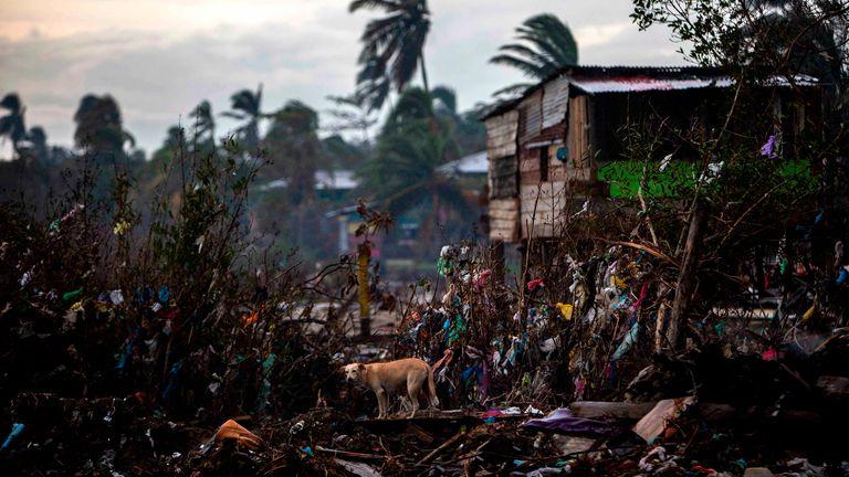 Maisons déjà détruites par l'ouragan Eta, à Bilwi, Puerto Cabezas, Nicaragua