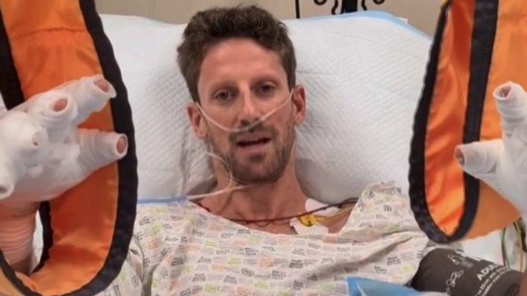 Le pilote de F1 Romain Grosjean fait le point sur son état après avoir survécu à un accident à grande vitesse.