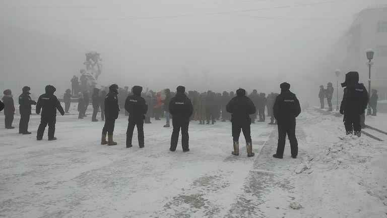 Les manifestants se sont rassemblés pour soutenir M. Navalny dans des températures de -50 ° C à Iakoutsk.  Photo: Ksenia Korshun / via REUTERS