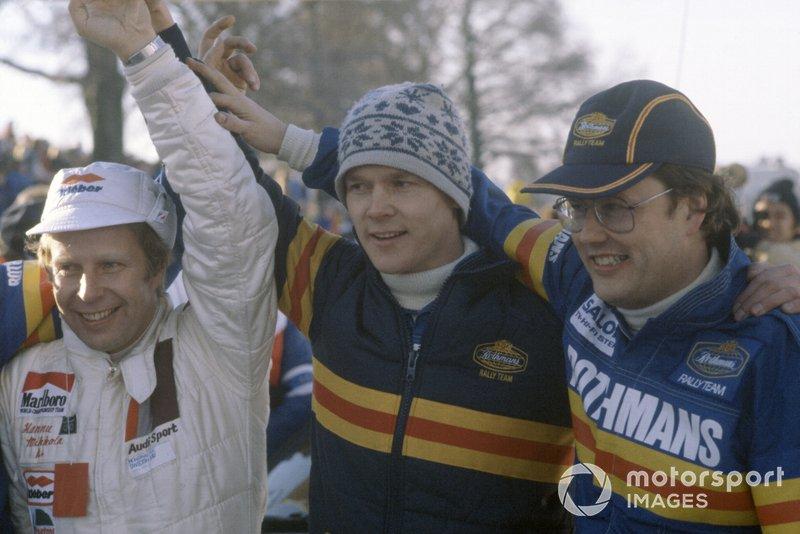 Hannu Mikkola (à gauche), Ari Vatanen et Pentti Airikkala