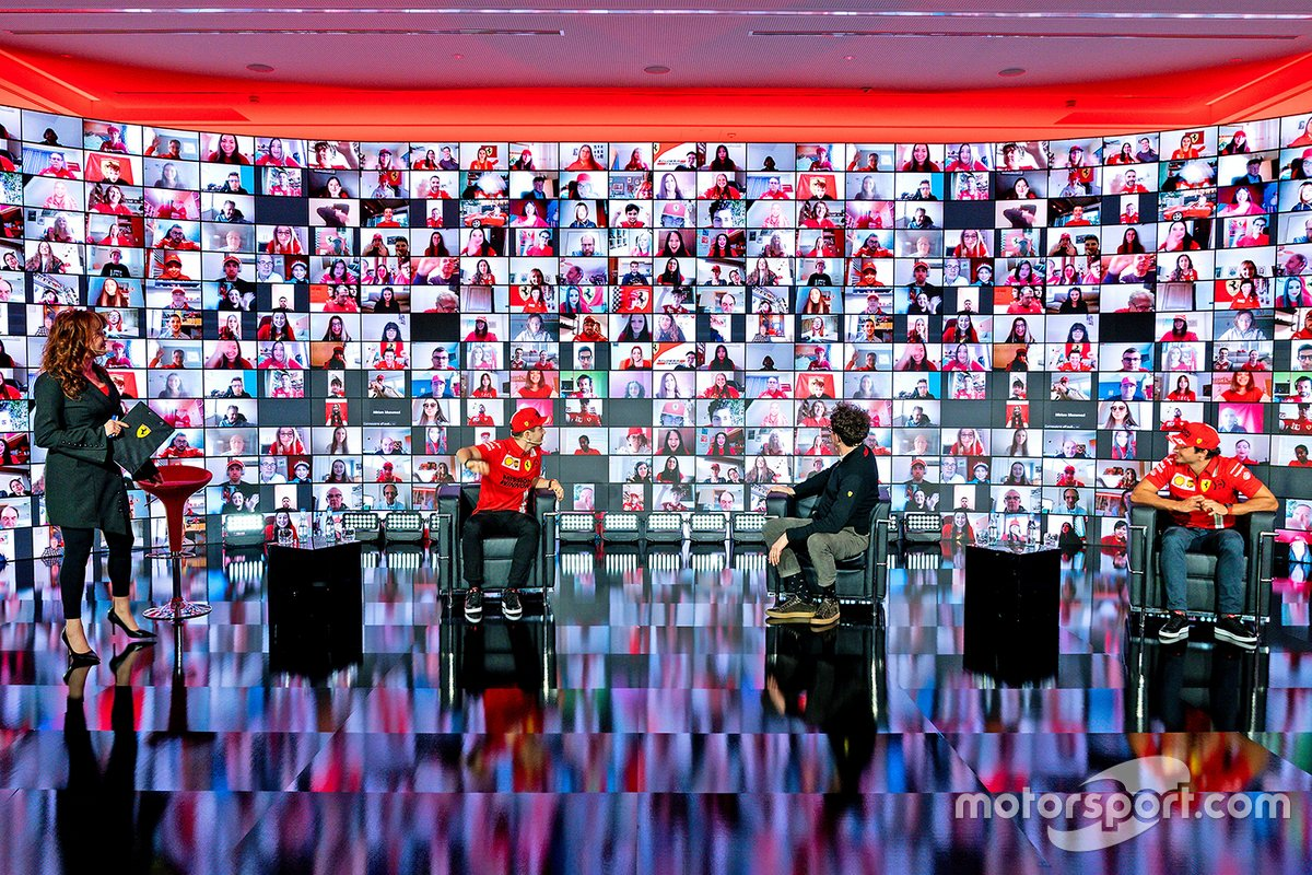 Mattia Binotto, Team Principal Ferrari avec Charles Leclerc et Carlos Sainz Jr., Ferrari