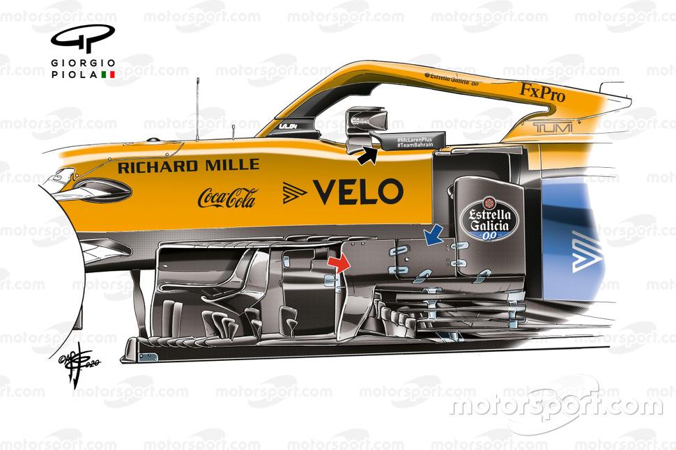 McLaren a apporté des modifications subtiles à la zone de bargeboard du MCL35M.