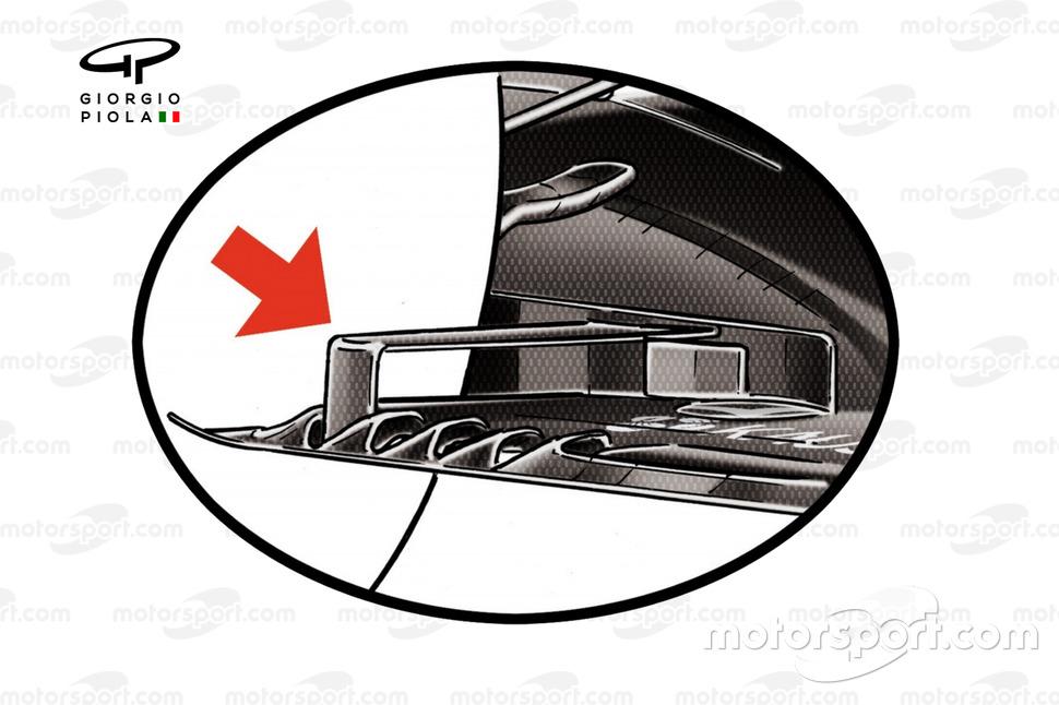 Le bord de fuite du plancher a été réduit par la réglementation 2021 de la F1.