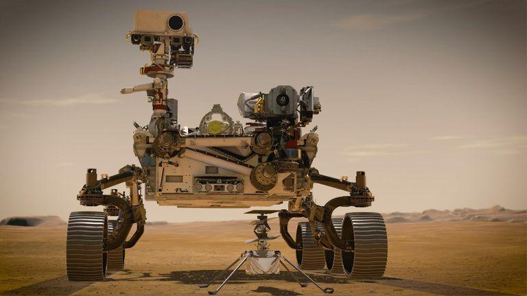 PIA23962: Portrait de persévérance et d'ingéniosité (concept de l'artiste) En février 2021, le rover Mars 2020 Perseverance de la NASA et l'hélicoptère Ingenuity Mars de la NASA (présenté dans le concept d'un artiste) seront les deux nouveaux explorateurs de l'agence sur Mars.  Les deux ont été nommés par les étudiants dans le cadre d'un concours de rédaction.  La persévérance est le rover le plus sophistiqué que la NASA ait jamais envoyé sur Mars.  Ingenuity, une expérience technologique, sera le premier avion à tenter un vol contrôlé sur une autre planète.  La persévérance va
