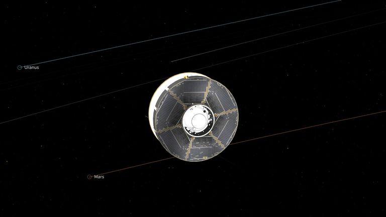 Cette illustration du vaisseau spatial Mars 2020 dans l'espace interplanétaire a été générée à l'aide d'images des yeux de la NASA sur le système solaire.  L'image provient du point médian de la mission entre la Terre et Mars.  Crédit: NASA / JPL-Caltech